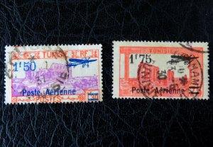 Zwei Luftpost-Briefmarken der Französischen Kolonie Tunesien
