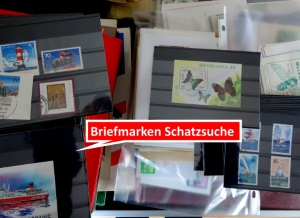 Briefmarken in einer Inventurkiste