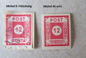 """Fälschung der Ostsachsen Michel B I  """"Potschta"""""""