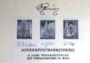 Briefmarken Schwarzdruck auf Erläuterungsblatt von Österreich