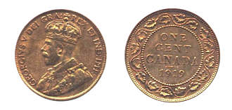 Values of Canadian Large Cents with George V