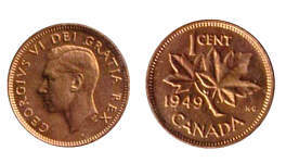 Values of Canadian Cents with George VI