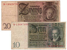 Collector values of old German banknotes